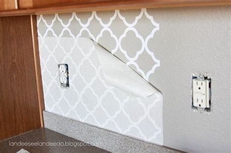 easy vinyl backsplash   kitchen vinyls idea paint
