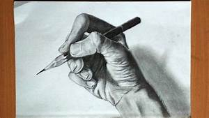 Drawing a hand holding a pencil... - YouTube