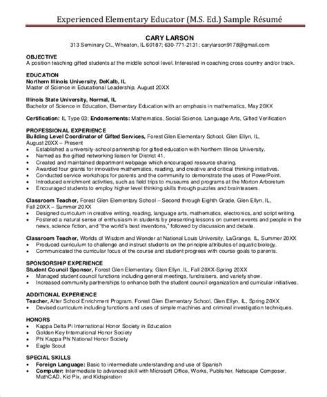 Elementary Teachers Resumes by Elementary Resume Template 7 Free Word Pdf