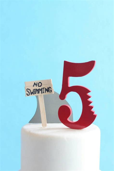 shark cake topper kit no swimming diy birthday cake