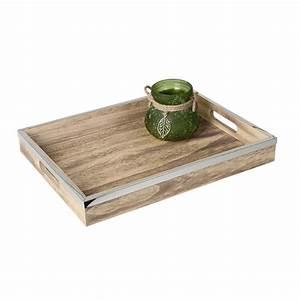 Tablett Aus Holz : formano deko tablett aus holz mit griffen und edelstahlkante 40 cm natur silber ~ Buech-reservation.com Haus und Dekorationen