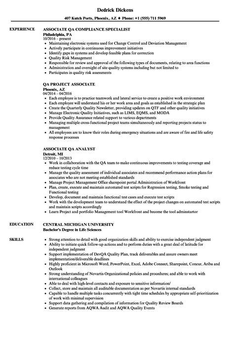 associate qa resume samples velvet jobs