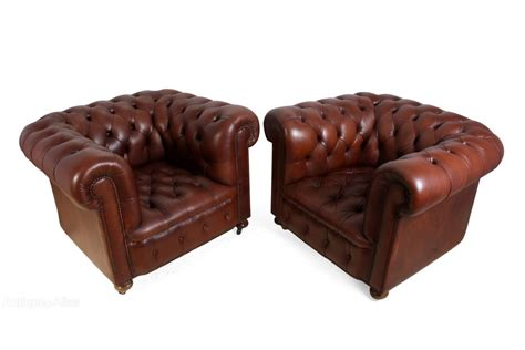 antiques atlas a pair of vintage leather chesterfield