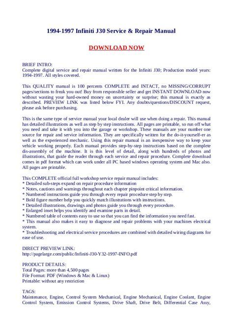 free online car repair manuals download 1998 infiniti qx electronic valve timing 1994 1997 infiniti j30 service repair manual