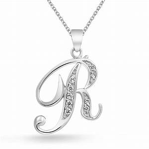 925 silver cz cursive initial letter r alphabet necklace 16in With letter r necklace