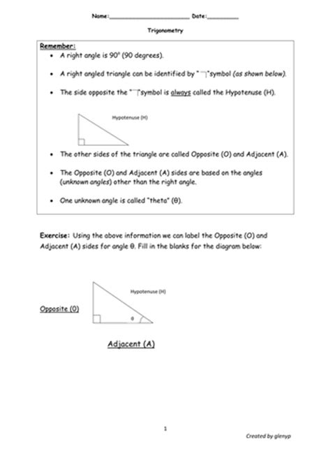 Simplified Trigonometric Ratios Worksheet With Answers By Glenyp  Teaching Resources Tes