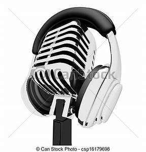 Stock Illustration of Mic And Headphones Shows Recording ...