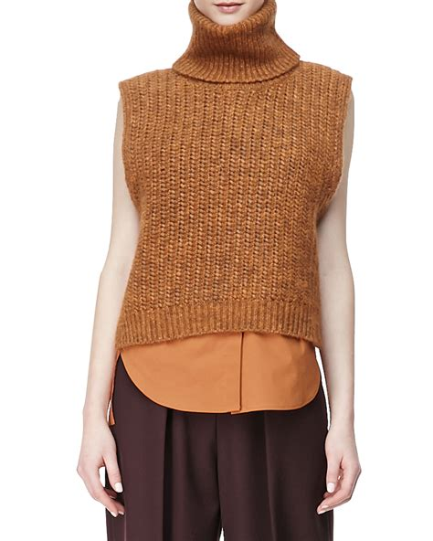 sleeveless turtleneck sweater 3 1 phillip lim sleeveless high low turtleneck sweater in