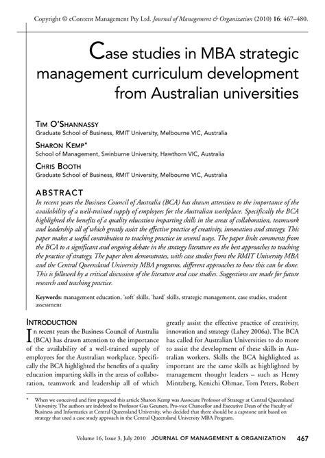 case studies  mba strategic management curriculum