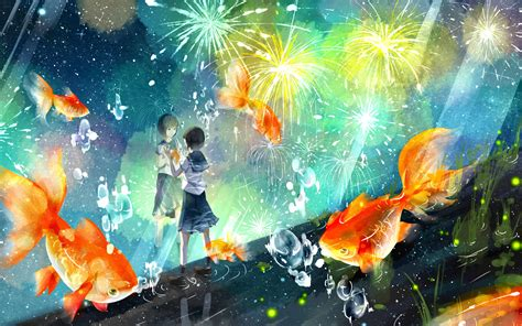 Dragon Ball Wallpaper 1920x1080 Schoolgirl Wathing The Fireworks Wallpaper Anime Wallpapers 31473