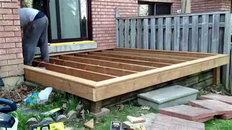diy deck build timelapse   son   building  deck    patio youtube