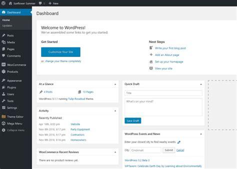 Wordpress-dashboard-screenshot • Red Sunflower