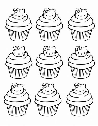 Coloring Cupcakes Kitty Hello Cup Cakes Pages