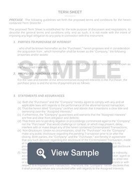 term sheet template sample term sheet formswift
