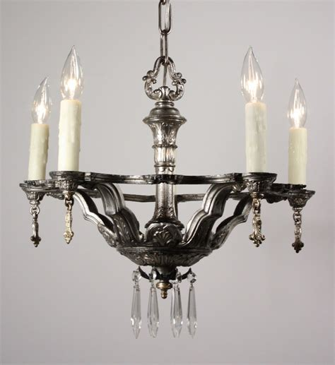 Pewter Chandelier by Gorgeous Antique Neoclassical Five Light Chandelier