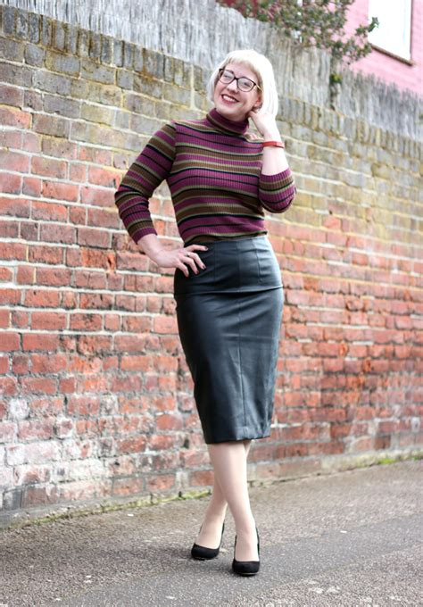 Leather Pencil Skirt outfit with Roll Neck Jumper