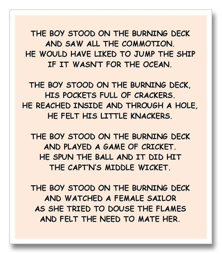 peter frederick the boy stood on the burning deck