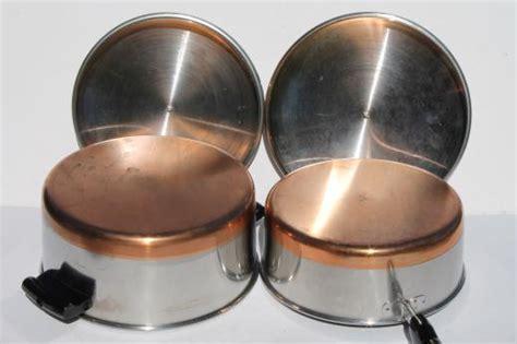 vintage copper bottom stainless steel pots pans set  korea