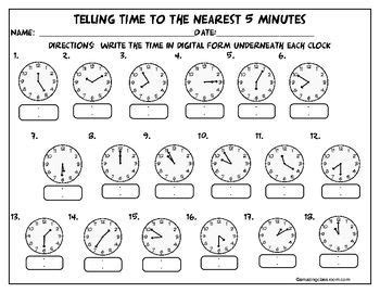 telling time   nearest  minutes telling time