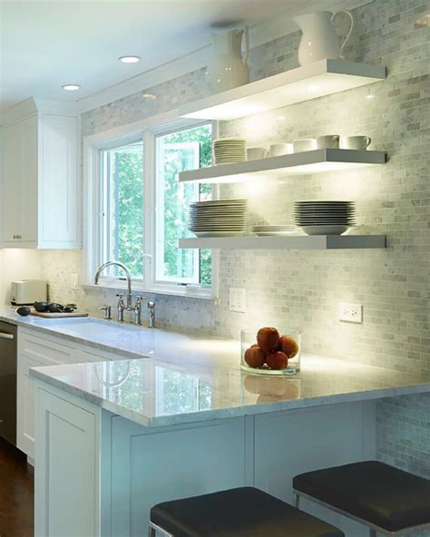 floating shelves  undermount lighting modern