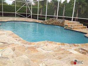 Travertine Pool Deck and Patio Remodeling Rustic Pool
