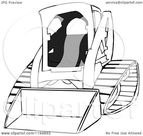 cartoon   outlined bobcat skid steer loader royalty  vector clipart  dennis