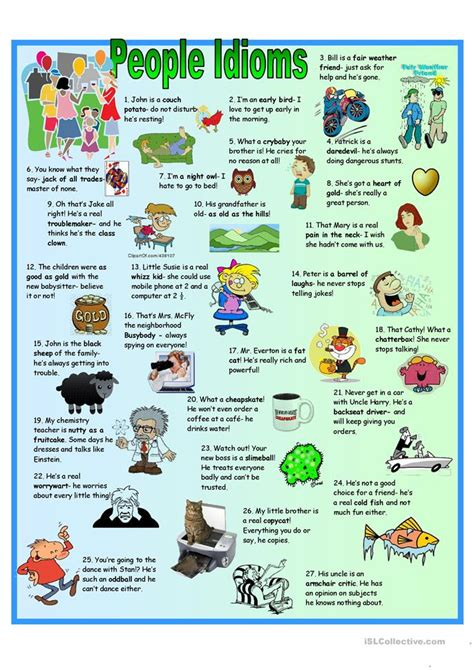 page people idioms vocabulary key worksheet