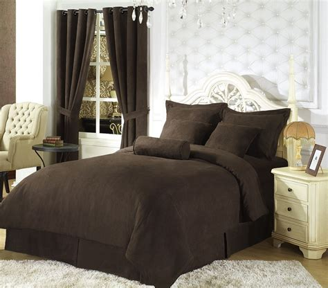 solid coffee brown micro suede duvet cover queen bedding