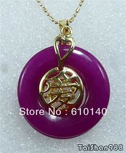 purple jade 18kgp chinese letter love luck pendant With chinese letter necklace
