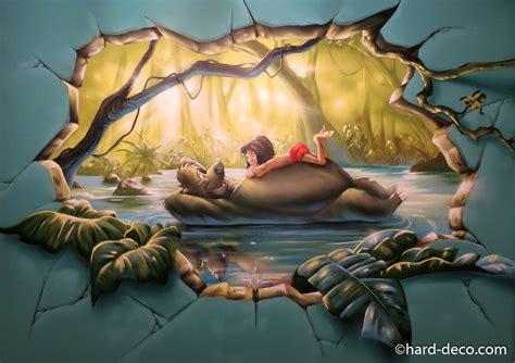 peinture pour chambre de fille fresque murale graffiti sur le livre de la jungle