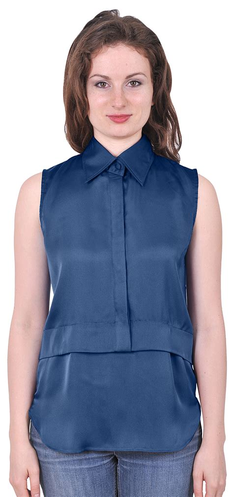 sleeveless button blouse womens easy care sleeveless button collared suiting