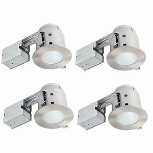 Globe electric in brushed nickel ic rated bathroom recessed lighting kit led bulbs included