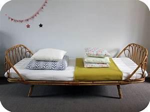 Lit En Osier : lit osier corbeille ann es 60 l 39 atelier du petit parc ~ Teatrodelosmanantiales.com Idées de Décoration