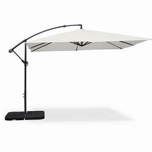 Parasol Déporté Carré : parasol d port carr 3x3m hardelot ecru mat excentr 8 baleines toile 180g d perlante ~ Mglfilm.com Idées de Décoration