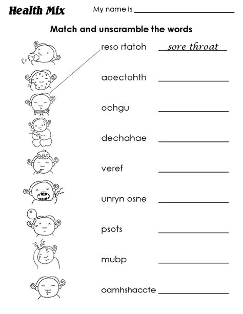 health grade 1 worksheets for beginner loving printable