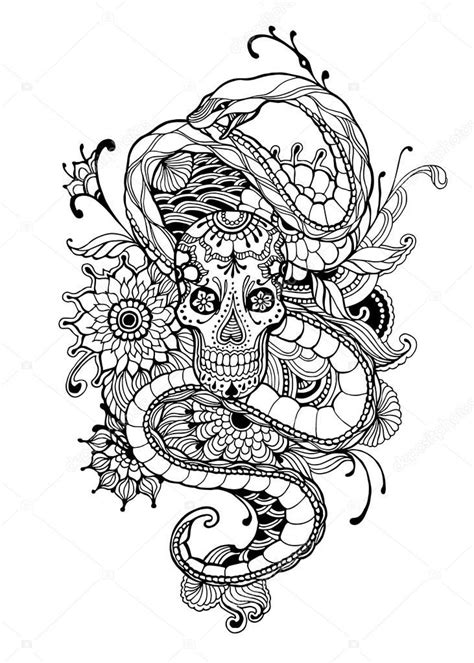 Pin by Gena Andreano on Coloring | Skull coloring pages, Snake coloring pages, Adult coloring pages