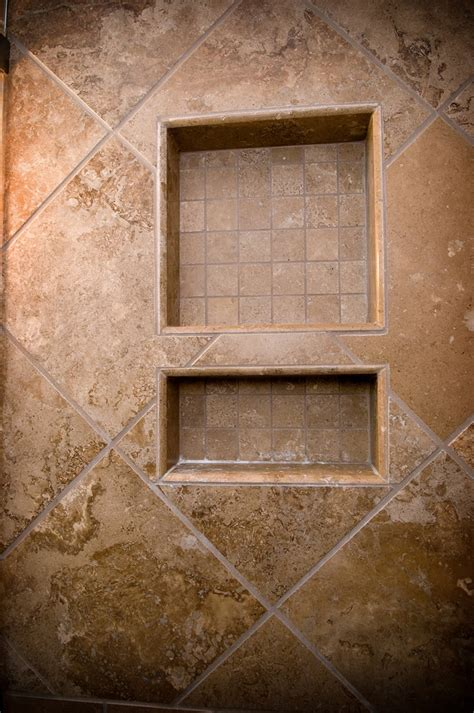 bathroom shower niche ideas travertine soap shoo shower niche with 2 quot x 2 quot inlay and bull nosed edges showers pinterest