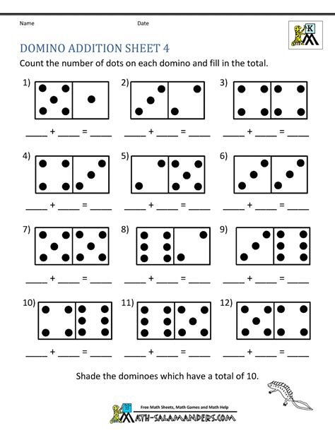 addition math worksheets  kindergarten