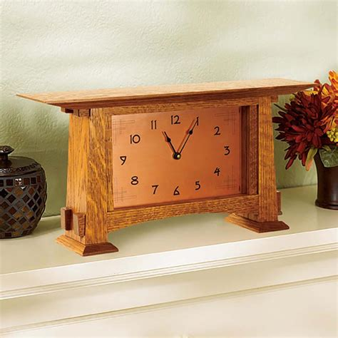 arts  crafts mantel clock woodworking plan  wood
