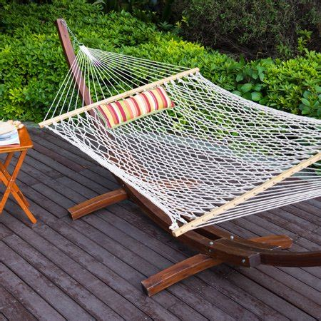 Cotton Rope Hammock With Stand by Lazy Daze Hammocks 12ft Wood Arc Hammock Stand And Cotton