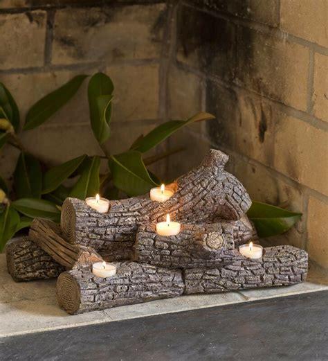 plow hearth logs hearth candle holder reviews wayfair