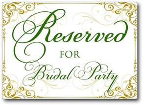 Free Wedding Reserved Table Sign Template