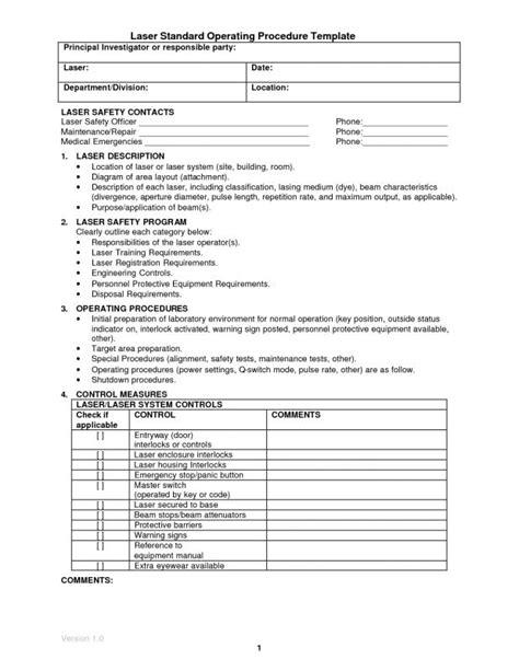 standard operating procedure  template business