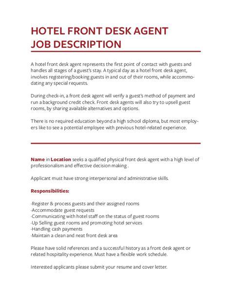 Front Desk Description For Resume by Front Desk Description Resume Hostgarcia