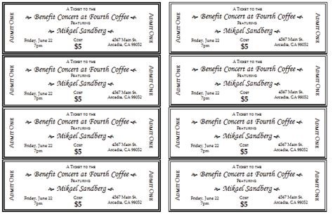 event ticket templates word excel  templates