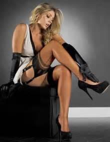 peplum dress seamed suspenders and high heels legs