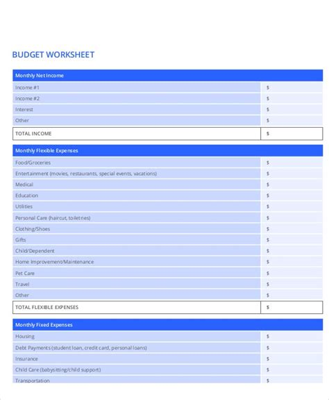 household budget worksheet templates