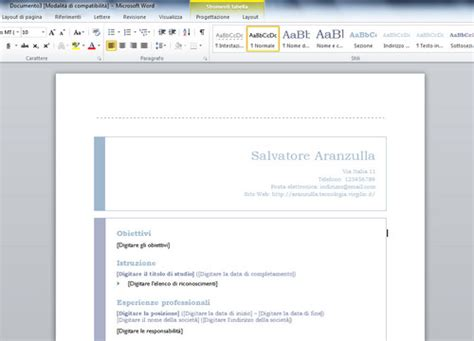 Where Does The Word Curriculum Vitae Come From by Come Fare Un Curriculum Vitae Con Word Salvatore Aranzulla