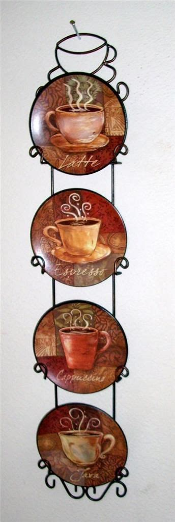themed kitchen canisters 4 coffee house bistro cafe wall plate rack set decor