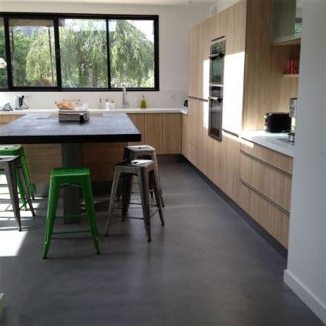 extension de maison cuisine sol béton ciré angers